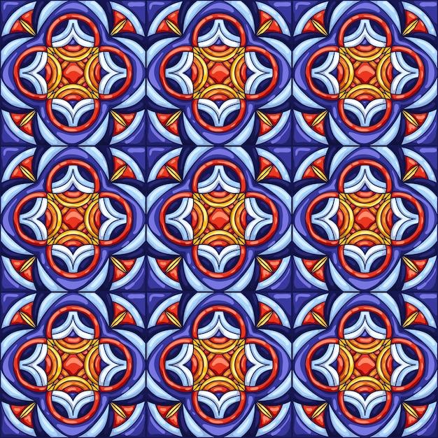 Padrão de telha cerâmica. ladrilhos cerâmicos ornamentados típicos portugueses ou italianos. Vetor Premium