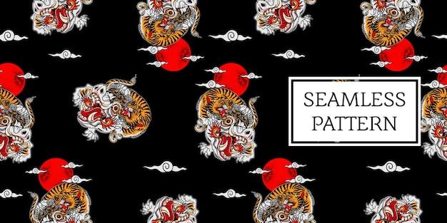 Padrão de tigre balinês Vetor Premium