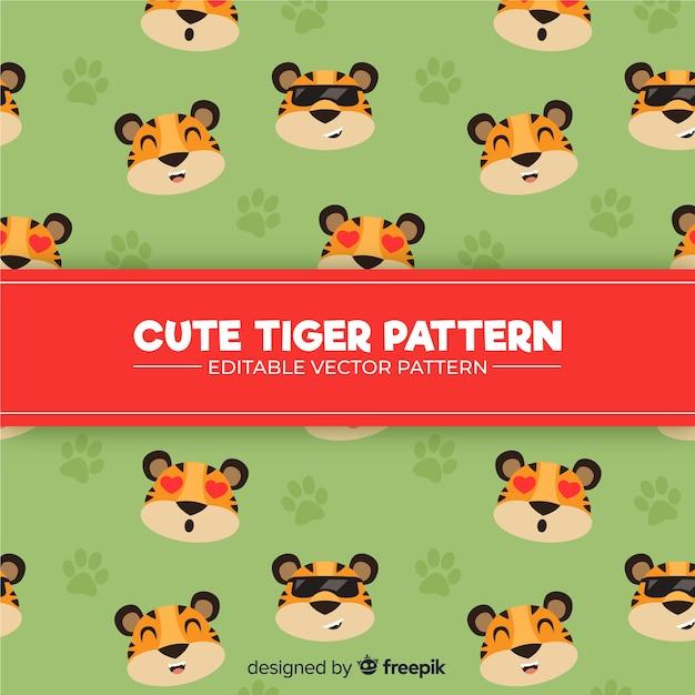 Padrão de tigre bonito Vetor grátis