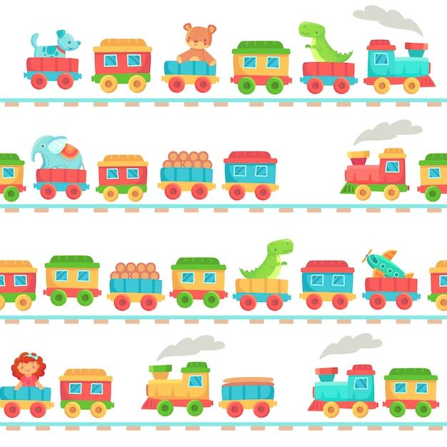 Padrão de trem de brinquedo de crianças. brinquedos de ferrovia para crianças, bebê treina transporte sobre trilhos e ferrovia de criança sem costura Vetor Premium