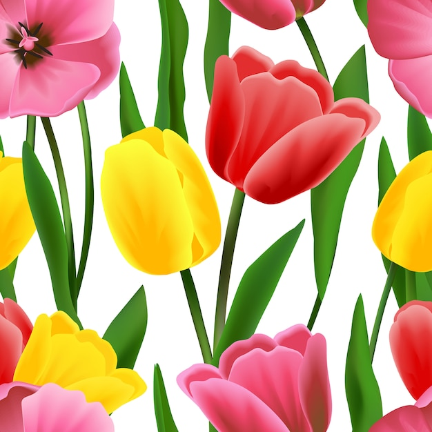 Padrão de tulipa sem emenda Vetor Premium