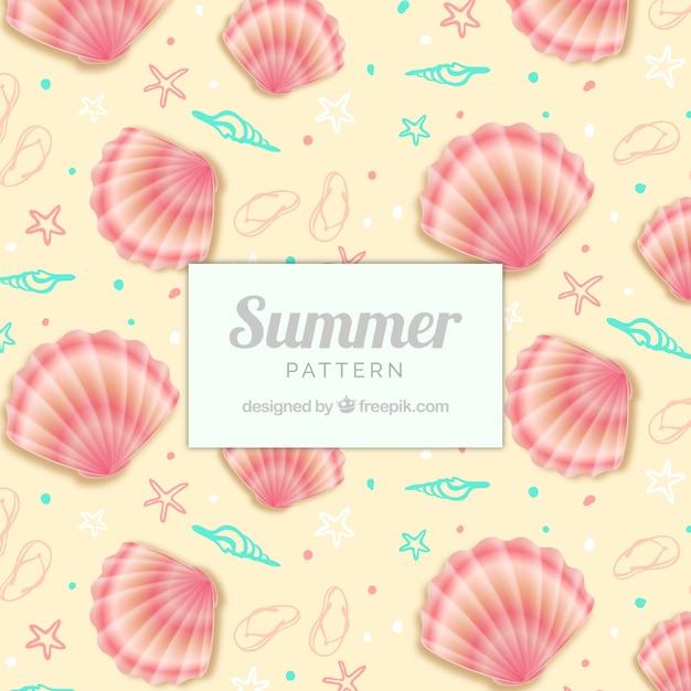 Padrão de verão bonito com conchas Vetor grátis