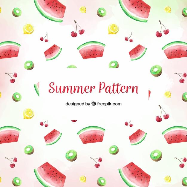 Padrão de verão com deliciosas frutas Vetor grátis