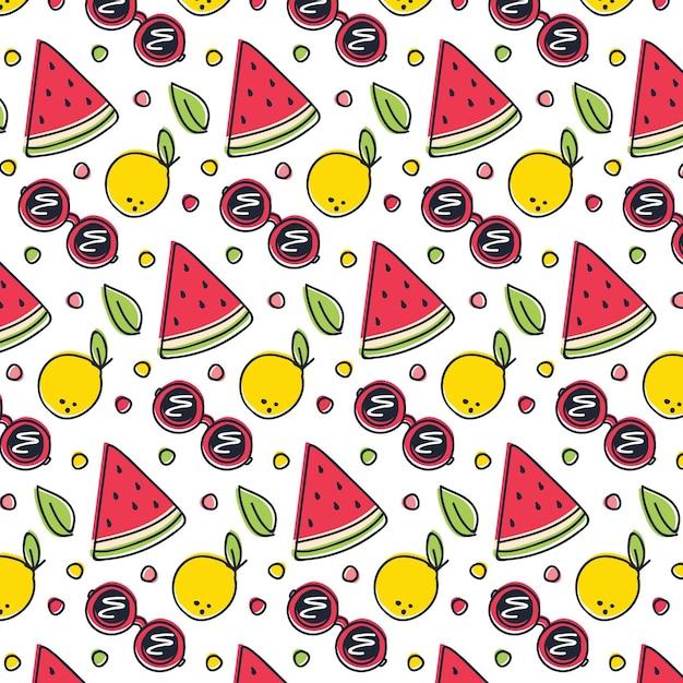 Padrão de verão com frutas e óculos de sol Vetor grátis