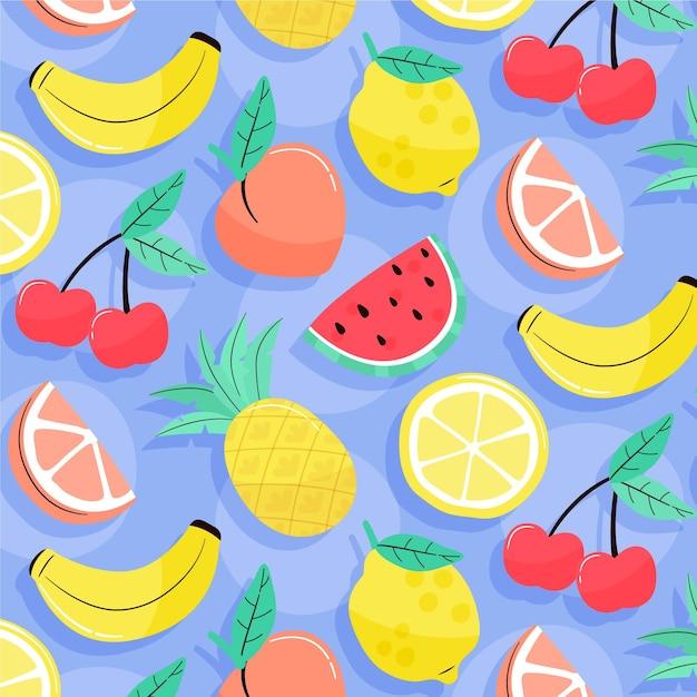 Padrão de verão com frutas Vetor grátis