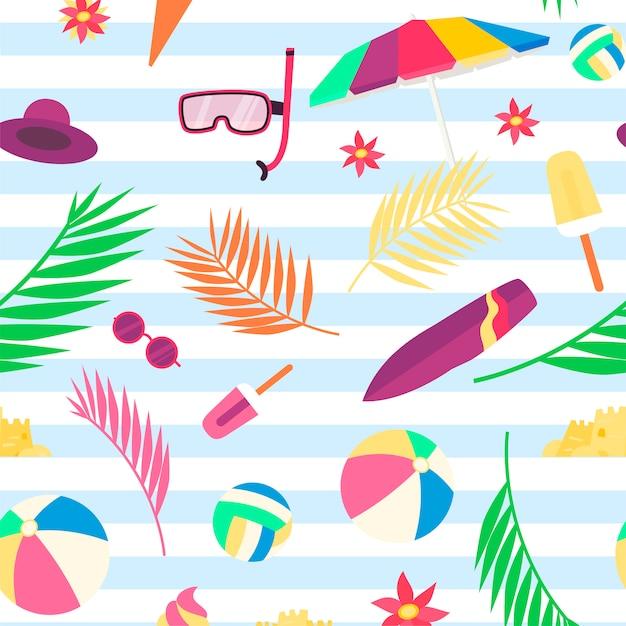 Padrão de verão com objetos de praia e acessórios Vetor Premium