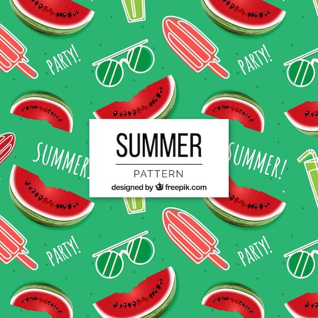 Padrão de verão com sorvetes e melancias Vetor grátis
