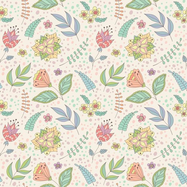 Padrão de vetor com doodle de primavera flores e folhas. Vetor Premium