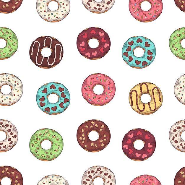 Padrão de vetor. donuts vitrificados decorados com coberturas, chocolate, nozes. Vetor Premium