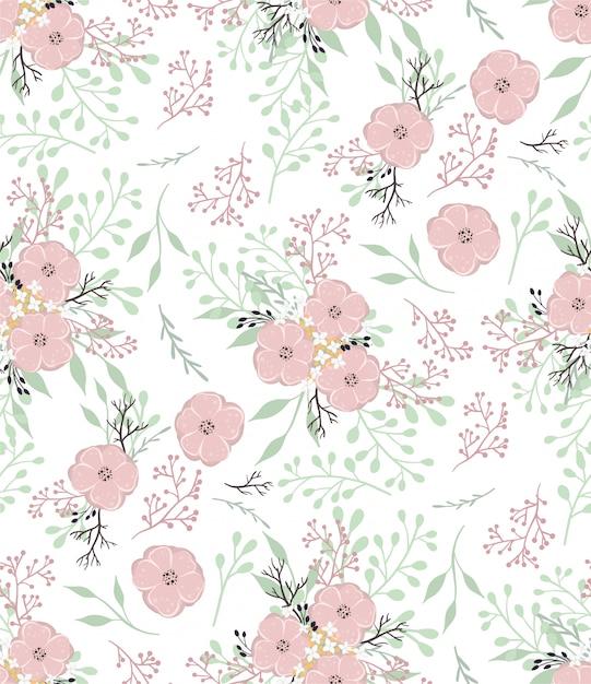 Padrão de vetor floral com pequenas flores e folhas. Vetor Premium