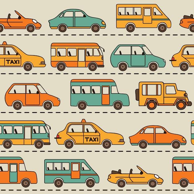 Padrão de vetor sem costura com carros e ônibus. Vetor Premium