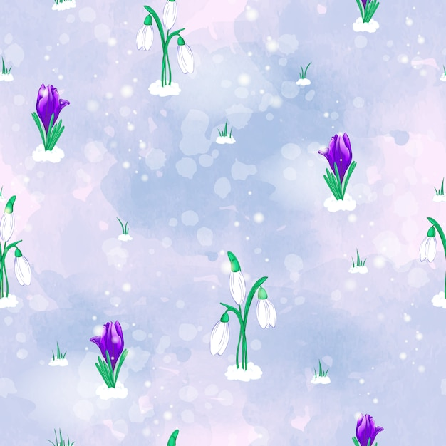 Padrão de vetor sem costura com flores da primavera, snowdrops brancos e açafrão violeta Vetor Premium