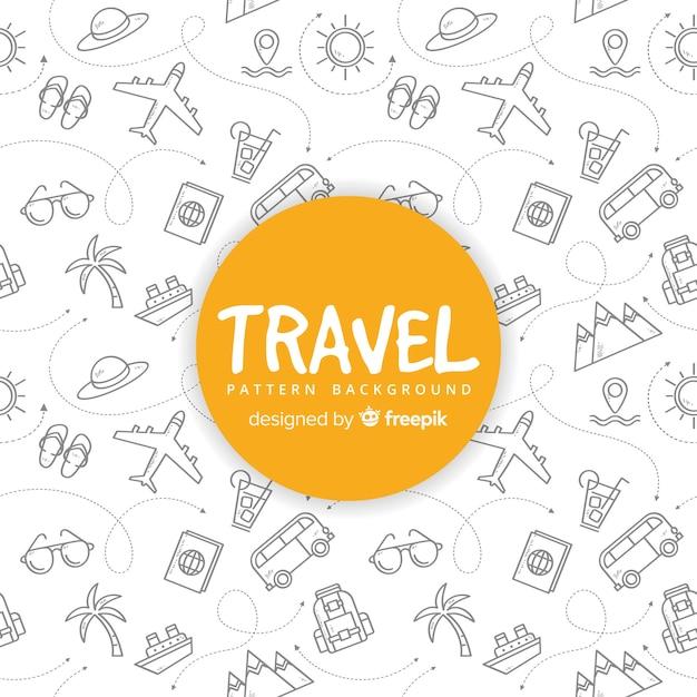 Padrão de viagem com elementos e linhas de traço Vetor grátis