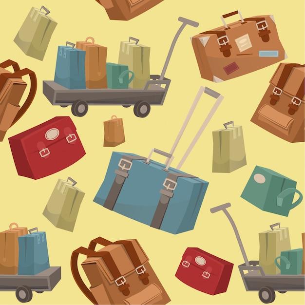 Padrão de viagem sem costura com bagagem Vetor Premium
