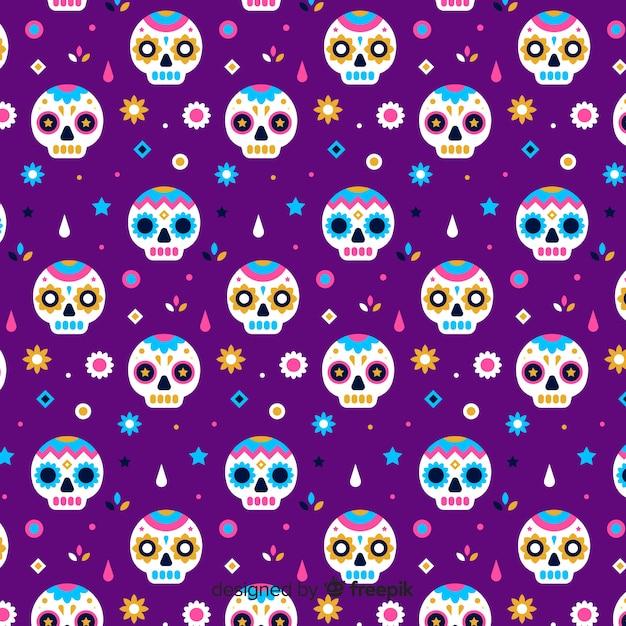 Padrão de violeta liso día de muertos Vetor grátis