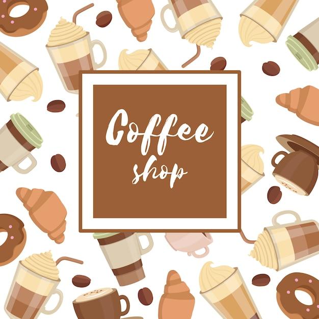 Padrão de xícaras de café Vetor Premium