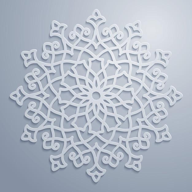 Padrão decorativo árabe redondo Vetor Premium