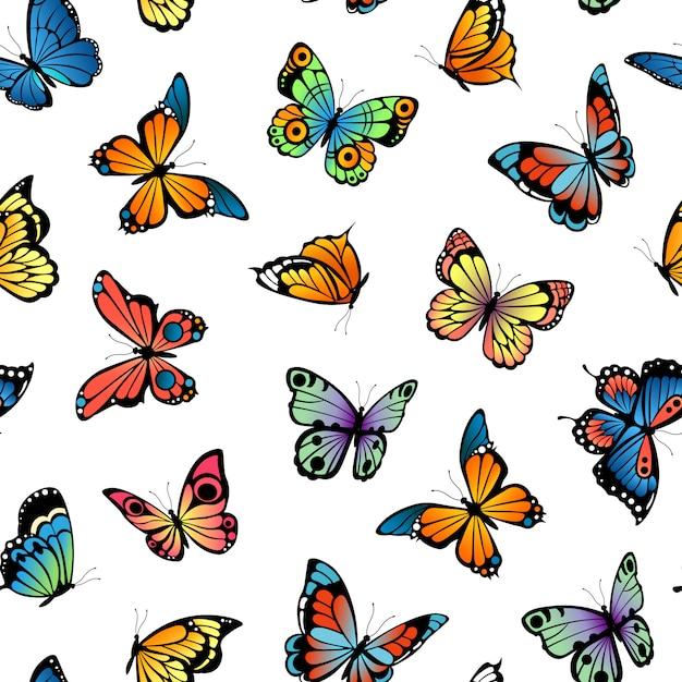 Padrão decorativo de borboletas ou ilustração Vetor Premium