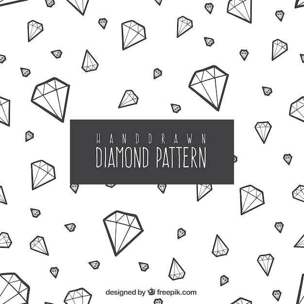 Padrão decorativo de mão desenhada diamantes Vetor Premium