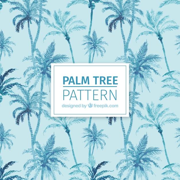 Padrão decorativo de palmeiras aquarela Vetor Premium