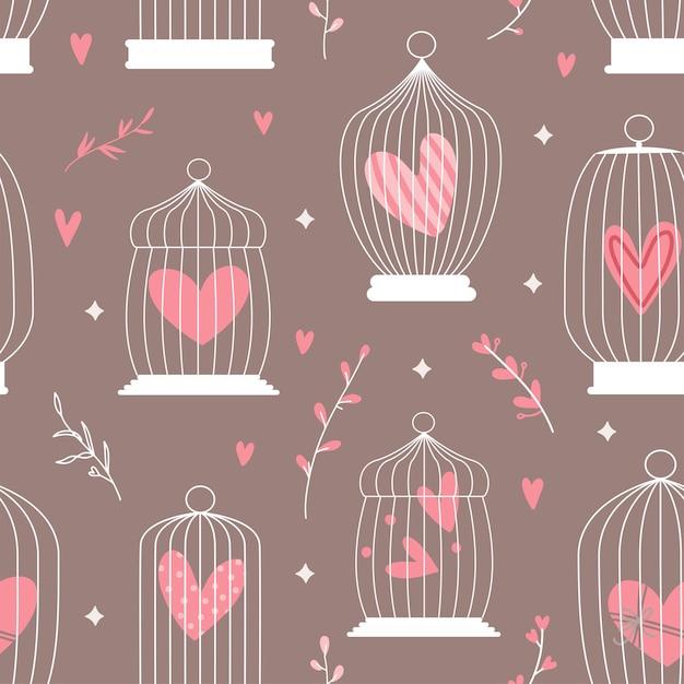 Padrão decorativo de primavera sem costura com gaiolas e corações dentro Vetor Premium