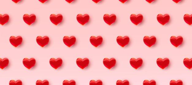 Padrão do dia dos namorados com corações vermelhos 3d Vetor Premium