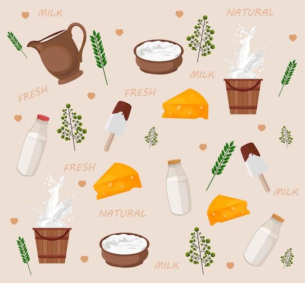 Padrão dos produtos lácteos frescos Vetor Premium