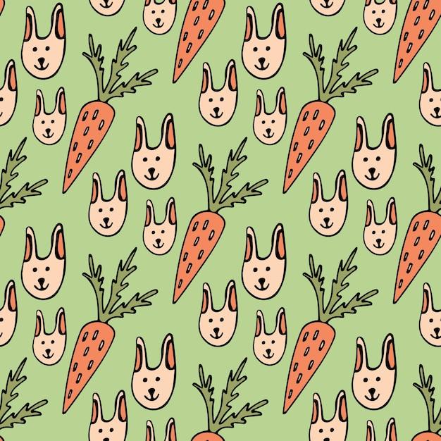 Padrão engraçado de desenhos animados sem costura para crianças ou páscoa de fundo. coelhos e cenouras Vetor Premium
