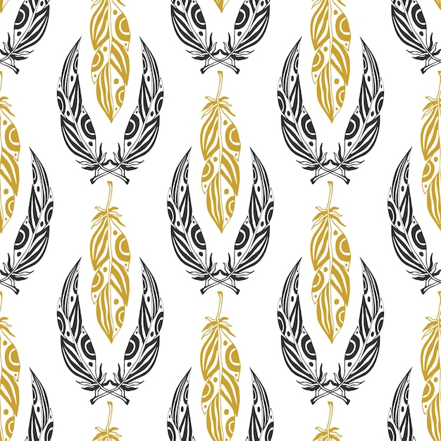 Padrão étnico sem costura com penas de beleza. pena tribal vintage em cores pretas e douradas Vetor Premium