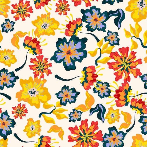 Padrão exótico com flores e folhas Vetor grátis