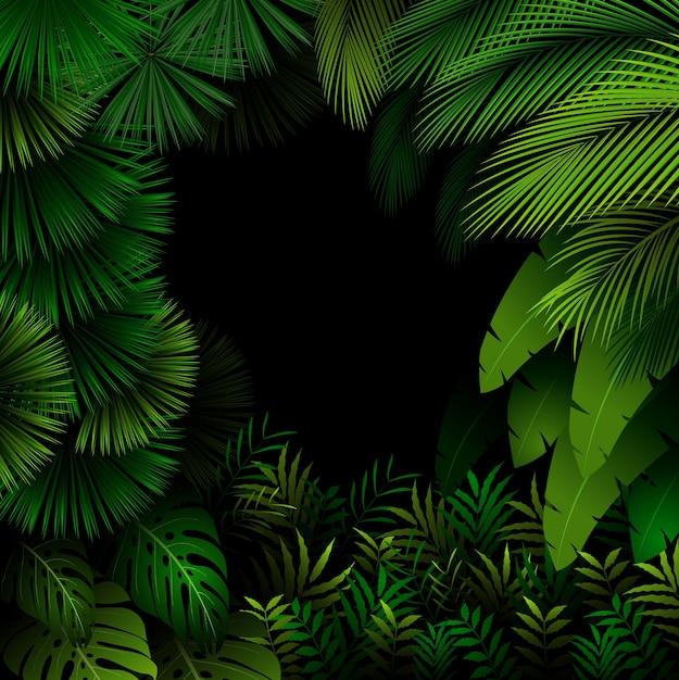 Padrão exótico com folhas tropicais na floresta escura Vetor Premium