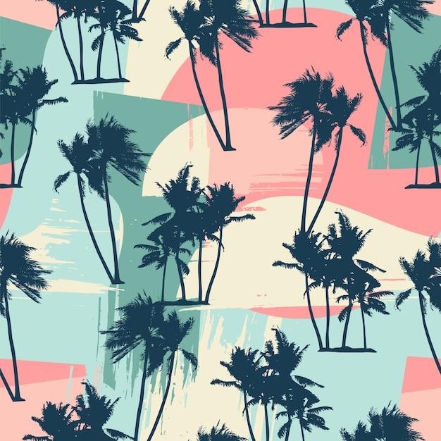 Padrão exótico sem costura com palmeiras tropicais e fundo artístico. Vetor Premium
