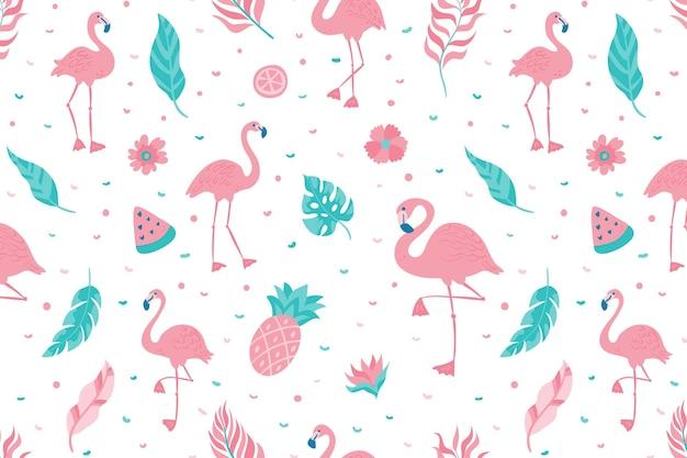 Padrão flamingo Vetor Premium