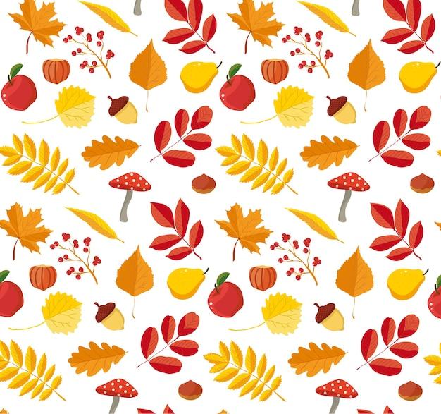Padrão floral de outono Vetor Premium