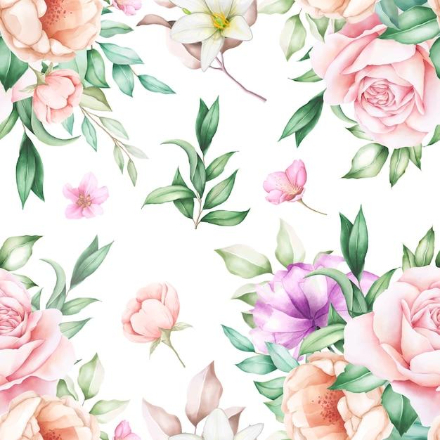 Padrão floral elegante sem costura Vetor grátis
