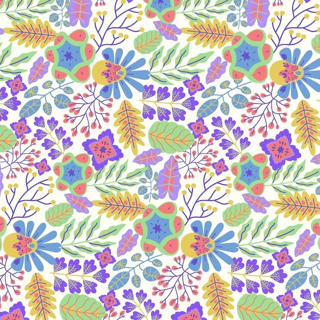 Padrão floral exótico pintado à mão colorido Vetor grátis