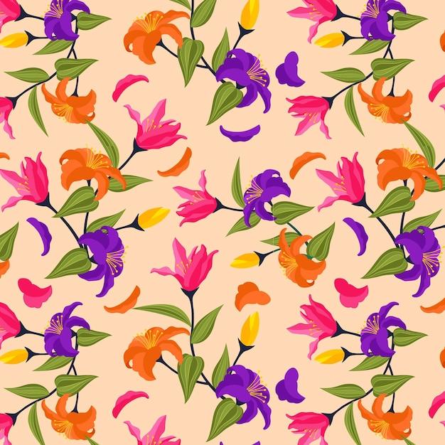Padrão floral exótico pintado à mão criativo Vetor grátis