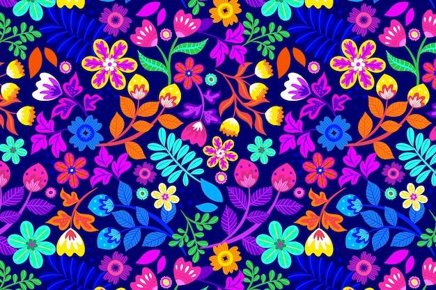 Padrão floral exótico pintado à mão Vetor grátis
