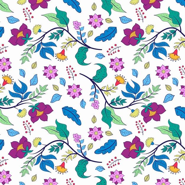 Padrão floral pintado à mão colorido em fundo branco Vetor grátis