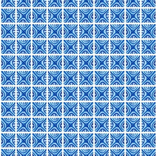 Padrão floral sem costura azul aquarela. fundo de vetor em estilo de pintura chinesa em estilo de porcelana ou gzhel e holanda russa. Vetor Premium