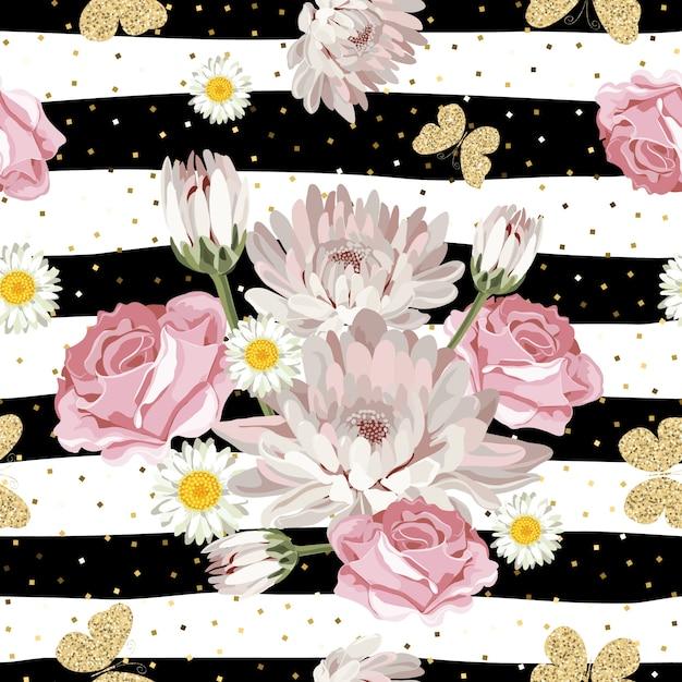 Padrão floral sem costura com borboletas brilhantes Vetor Premium