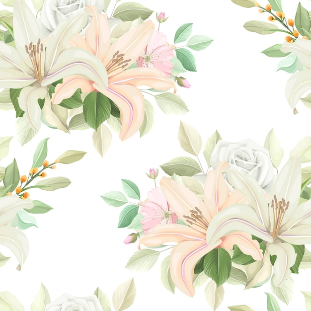 Padrão floral sem costura com cor suave Vetor grátis