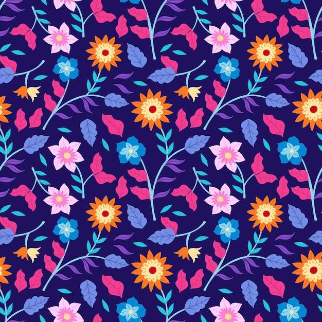 Padrão floral tropical colorido pintado à mão Vetor grátis