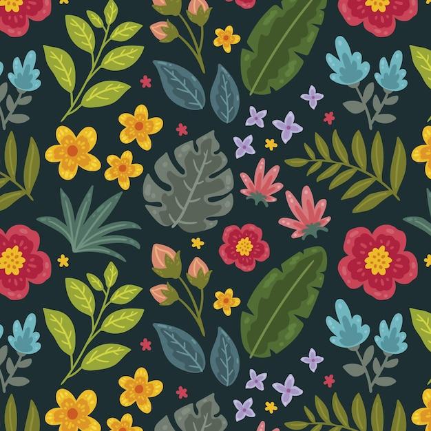 Padrão floral tropical pintado Vetor grátis