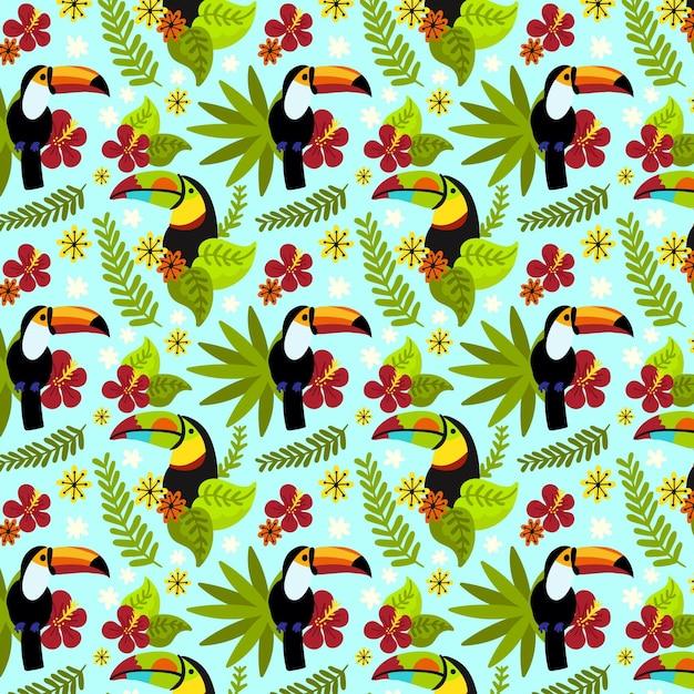 Padrão floral tropical pintado Vetor Premium