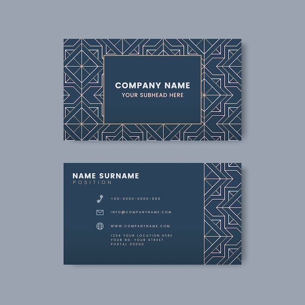 Padrão geométrico branco no vetor cartão azul Vetor grátis