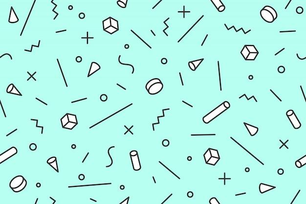 Padrão geométrico de memphis. sem costura padrão gráfico estilos modernos dos anos 80-90, fundo preto. teste padrão colorido com objetos abstratos de diferentes formas para papel de embrulho, plano de fundo. ilustração Vetor Premium
