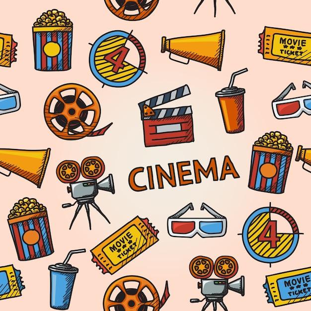 Padrão handdrawn de cinema sem costura com - projetor de cinema, tira de filme, óculos 3d, ripa, pipoca em uma banheira listrada, ingresso de cinema, copo de bebida. Vetor Premium