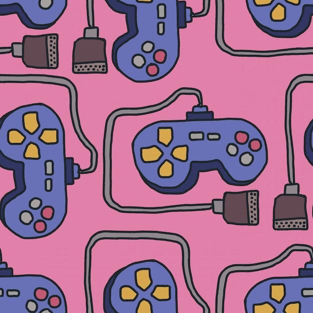 Padrão joystick. fundo de gamepad retrô. ornamento do controlador dos jogos de vídeo Vetor Premium