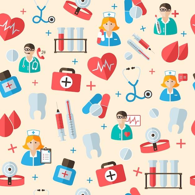 Padrão médico padrão sem emenda Vetor grátis
